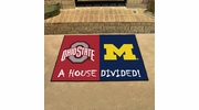 "Fan Mats 8460  Ohio State Buckeyes vs Michigan Wolverines 33.75"" x 42.5"" House Divided Area Rug / Mat"