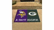 "Fan Mats 8462   NFL - Minnesota Vikings vs Green Bay Packers 33.75"" x 42.5"" House Divided Area Rug / Mat"