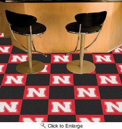 "Fan Mats 8532  NU - University of Nebraska Cornhuskers 18"" x 18"" Team Carpet Tiles (10 Logo, 10 Solid per Box - appx 45 sq ft)"