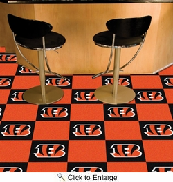 "Fan Mats 8556  NFL - Cincinnati Bengals 18"" x 18"" Team Carpet Tiles (10 Logo, 10 Solid per Box - appx 45 sq ft)"
