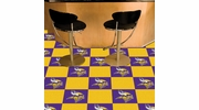 "Fan Mats 8560  NFL - Minnesota Vikings 18"" x 18"" Team Carpet Tiles (10 Logo, 10 Solid per Box - appx 45 sq ft)"