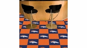 "Fan Mats 8567  NFL - Denver Broncos 18"" x 18"" Team Carpet Tiles (10 Logo, 10 Solid per Box - appx 45 sq ft)"