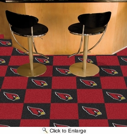 "Fan Mats 8568  NFL - Arizona Cardinals 18"" x 18"" Team Carpet Tiles (10 Logo, 10 Solid per Box - appx 45 sq ft)"