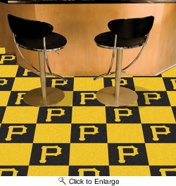 "Fan Mats 8594  MLB - Pittsburgh Pirates 18"" x 18"" Team Carpet Tiles (10 Logo, 10 Solid per Box - appx 45 sq ft)"