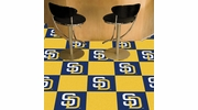 "Fan Mats 8596  MLB - San Diego Padres 18"" x 18"" Team Carpet Tiles (10 Logo, 10 Solid per Box - appx 45 sq ft)"