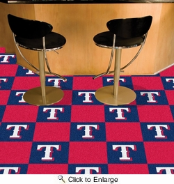 "Fan Mats 8600  MLB - Texas Rangers 18"" x 18"" Team Carpet Tiles (10 Logo, 10 Solid per Box - appx 45 sq ft)"