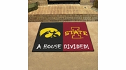 "Fan Mats 8605  Iowa Hawkeyes vs Iowa State Cyclones 33.75"" x 42.5"" House Divided Area Rug / Mat"