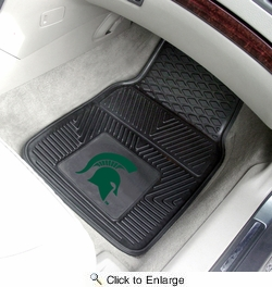 "Fan Mats 8918  MSU - Michigan State University Spartans 17"" x 27"" Heavy Duty Vinyl Car Mat Set"