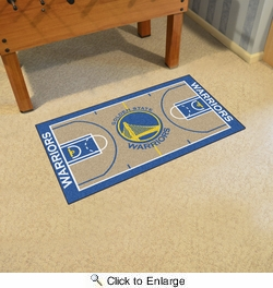 "Fan Mats 9264  NBA - Golden State Warriors 29.5"" x 54"" Large NBA Court-Shaped Runner Rug"