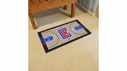 """Fan Mats 9289  NBA - Los Angeles Clippers 29.5"""" x 54"""" Large NBA Court-Shaped Runner Rug"""