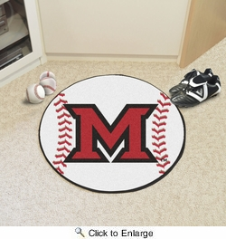 "Fan Mats 94  MU - Miami University of Ohio Redhawks 27"" Diameter Baseball Shaped Area Rug"