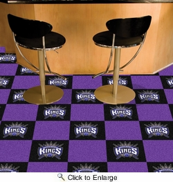 "Fan Mats 9400  NBA - Sacramento Kings 18"" x 18"" Team Carpet Tiles (10 Logo, 10 Solid per Box - appx 45 sq ft)"