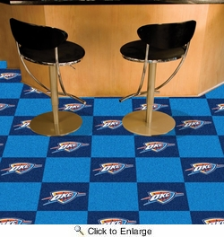 "Fan Mats 9416  NBA - Oklahoma City Thunder 18"" x 18"" Team Carpet Tiles (10 Logo, 10 Solid per Box - appx 45 sq ft)"