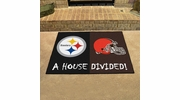 """Fan Mats 9578  NFL - Pittsburgh Steelers vs Cleveland Browns 33.75"""" x 42.5"""" House Divided Area Rug / Mat"""