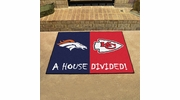 "Fan Mats 9579  NFL - Denver Broncos vs Kansas City Chiefs 33.75"" x 42.5"" House Divided Area Rug / Mat"