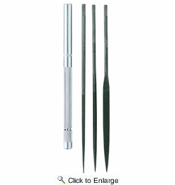 General Tool S477  Four-piece Tool Steel Needle File Set with Handle (42319)