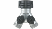 """Gilmour 800154-1001  Double Water Hose Metal """"Y"""" Connector with Shut-Off (15)"""