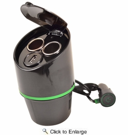 GO-XT 12V Car Charger With USB Port - Cup Holder Mounting (18700)
