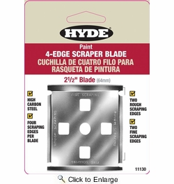 "Hyde 11130  2-1/2"" Lifetime Scraper Replacement Blade, 4-Edge"