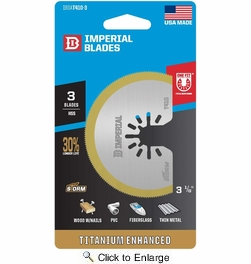 """Imperial Blades  IBOAT410-3  Universal Fit 3-1/8"""" Segment HSS Titanium Storm Saw Blade - 3 per Package"""