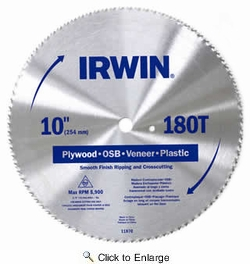 "Irwin 11870  10"" x 180 Tooth Plywood and Paneling Steel Circular Saw Blades"