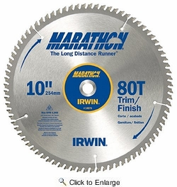 "Irwin 14076  Marathon 10"" x 80-Tooth Trim/Finish Circular Saw Blade"