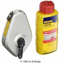 Irwin 1932881  100' Strait-Line Classic Chalk Reel With Permanent Red Chalk