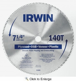 "Irwin 21840  7-1/4"" x 140-Tooth Circular Saw Blade for Plywood, OSB, Veneer and Plastic"