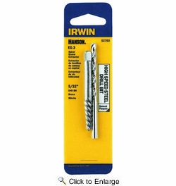 "Irwin 53703  Hanson EX-3 Spiral Extractor and 5/32"" HSS Drill Bit Combo Pack"