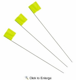 """Irwin 64102  Strait-Line 2-1/2"""" x 3-1/2"""" x 21"""" Glo-Lime Stake Flags 100 per Package"""