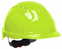 JSP 280-EV6151-LY  Evolution Deluxe - Standard Brim Hard Hat With 6 Point Polyester Suspension And Wheel Ratchet Adjustment - Bright Lime/Green