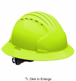 JSP 280-EV6161-LY  Evolution Deluxe - Full Brim Non Vented Hard Hat 6 Point Polyester Suspension With Wheel Ratchet Adjustment - Lime Yellow