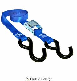 """Keeper 05105  1"""" x 10' Cam Buckle Tie Downs with Compact Hooks 4 Straps per Package"""