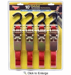 "Keeper 05508  1"" x 10' Ratchet Tie Downs with Compact Hooks 4 Straps per Package"