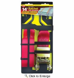 """Keeper 05517  2"""" x 14' Ratchet Tie Down Strap with Full Size Hooks"""