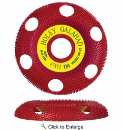 """King Arthur's Tools 47852  4"""" x 7/8"""" Holey Galahad Round Carbide Sanding Disc with See Through Technology - Red 70 Grit Medium to Fine Finish"""