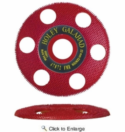 """King Arthur's Tools 47872  4"""" x 7/8"""" Holey Galahad Flat Carbide Sanding Disc with See Through Technology - Red 70 Grit Medium to Fine Finish"""