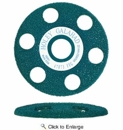 "King Arthur's Tools 47873  4"" x 7/8"" Holey Galahad Flat Carbide Sanding Disc with See Through Technology - Green SSG390 Fine"