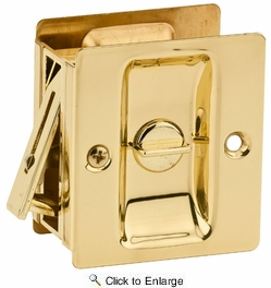 Kwikset 333-3  Notch Bed / Bath Privacy Pocket Door Lock - Polished Brass Finish