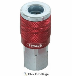 """Legacy A73410D  ColorConnex Red Type D Industrial 1/4"""" Body x 1/4"""" Female NPT Quick-Disconnect Coupler - Carded (C20)"""