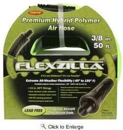 "Legacy HFZ3850YW2  Flexzilla 3/8"" x 50' Air Hose Assembly with 1/4"" Male NPT Fittings"