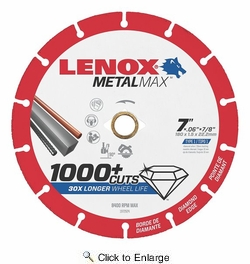 "Lenox 1972924  Cut Off Wheel 7"" Diamond MetalMax 7/8"" Arbor"