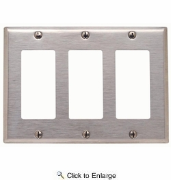 Leviton 84411-40  3-Gang Decora/GFCI Device Decora Wallplate, Standard Size - Stainless Steel