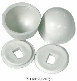 Lincoln 100880  Round Toilet Bolt Caps - White - 2 per Package