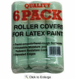 "Linzer RC139-9  Utlity 9"" Roller Covers for Latex Paints with 3/8"" Nap - 6 per Package"