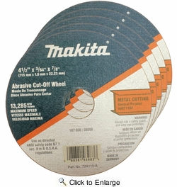 """Makita 724115-A-25  4-1/2"""" with 7/8"""" Arbor Super Thin Cut-Off Wheels for Metal - 25 per Package"""