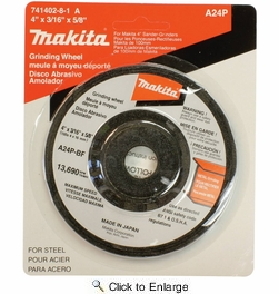 "Makita 741402-8-1  4"" x 3/16"" with 5/8"" Arbor General Purpose 24 Grit Grinding Wheel for Metal - Single Wheel"