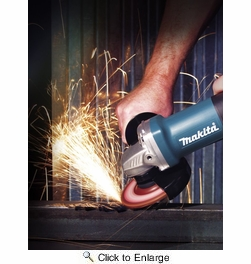 """Makita 9557PBX1  4-1/2"""" Angle Grinder with Paddle Switch - 7.5 Amp - Includes Case and Grinding Wheel"""