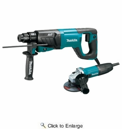 "Makita HR2641X1  1"" AVT Rotary Hammer SDS-Plus with 4-1/2"" Grinder (D-Handle)"