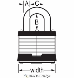 "Master Lock 1KA-2359  1-3/4"" Wide Keyed Alike Commercial Grade Laminated Padlock with 15/16"" Shackle Height - Keyed to 2359 Key Code"